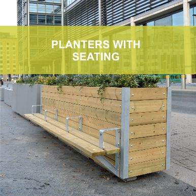 Planters with Seasting by Street Design